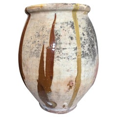 Biot Jar 19th Century with Yellow and Brown Glaze, Anchor Mark