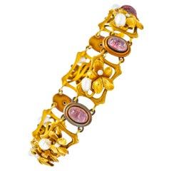 Bippart & Co. Art Nouveau Tourmaline Pearl 14 Karat Gold Floral Link Bracelet