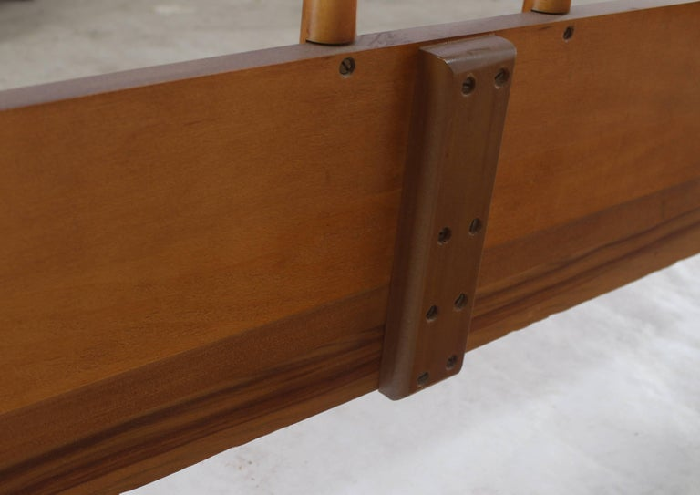 American Birch and Walnut Mid-Century Modern Full Size Bed Frame For Sale