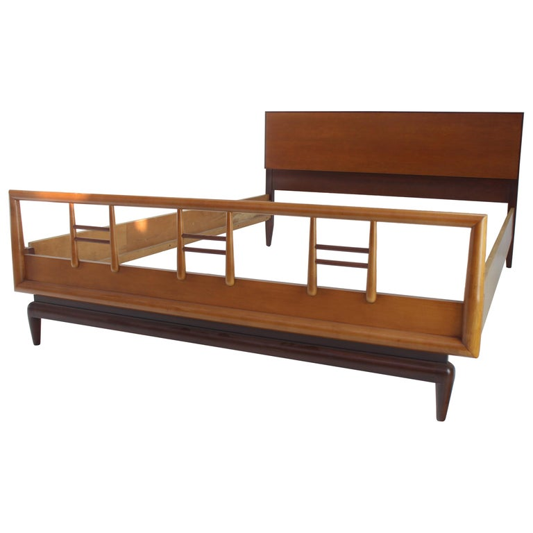 Birch and Walnut Mid-Century Modern Full Size Bed Frame For Sale