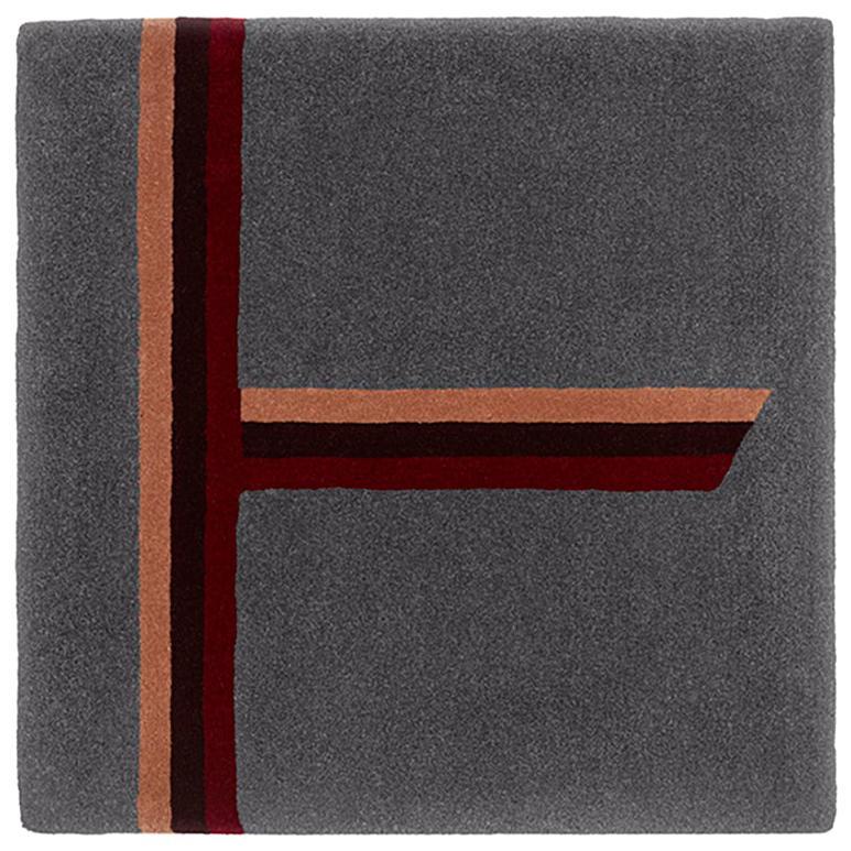 """Birch"" Owl Grey, Red, Burgundy Tree Alphabet Carpet or Tapestry by Rhyme Studio"
