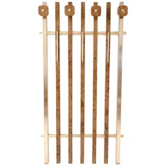 Birch Root and Brass Coat Rack with Red Travertine Hooks, Italy, 1970s