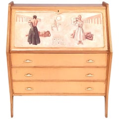 Vintage Wooden Secrétaire with Three Drawers