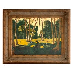 Large Landscape Oil Painting of Birch Trees in Massive Carved Wood Frame