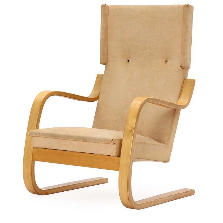 Scandinavian Modern Birch Wingback Lounge Chair by Alvar Aalto for Artek For Sale