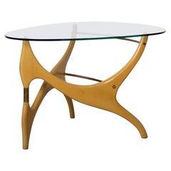 Birchwood Glasstop Coffee Table in the Style of Carlo Mollino