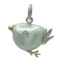Bird Australian Pearl White Diamond 18 Karat Gold Pendant/Necklace