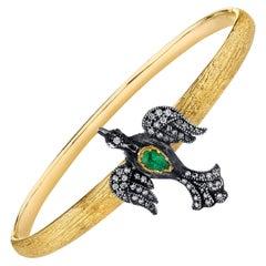 Bird Bracelet in Gold with Diamonds