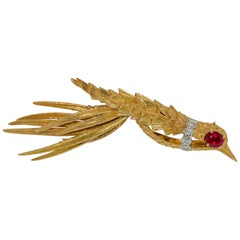 Bird Brooch, 18 Karat Rose Gold with White Diamonds and Ruby
