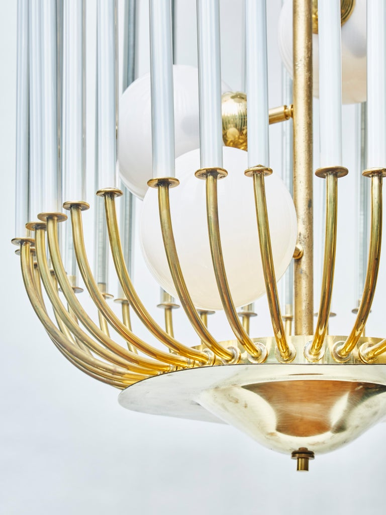 Italian Bird Cage Shaped Vintage Chandelier with Glass Globes For Sale