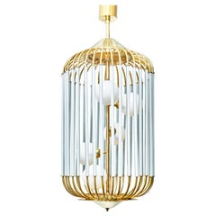 Bird Cage Shaped Vintage Chandelier with Glass Globes