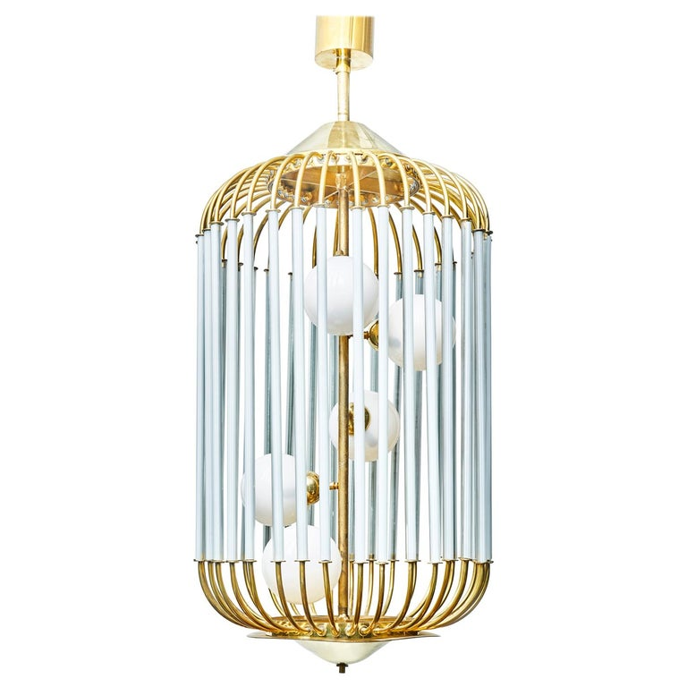 Bird Cage Shaped Vintage Chandelier with Glass Globes For Sale