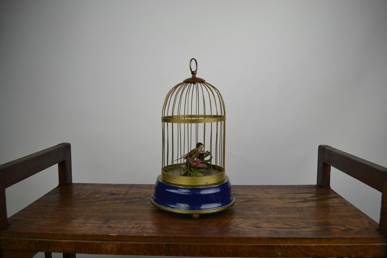 Bird Cage with Singing Bird Automaton, Europe, Mid-20th Century For Sale 5