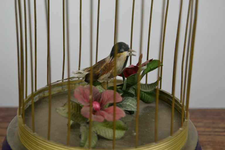 Bird Cage with Singing Bird Automaton, Europe, Mid-20th Century For Sale 6