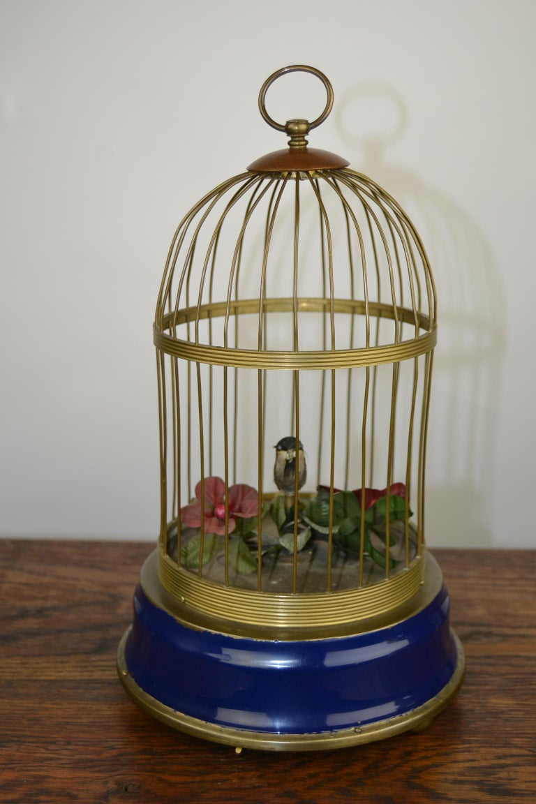 Bird Cage with Singing Bird Automaton, Europe, Mid-20th Century For Sale 7