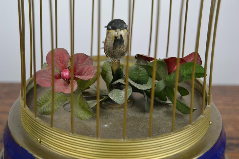 Bird Cage with Singing Bird Automaton, Europe, Mid-20th Century For Sale 8