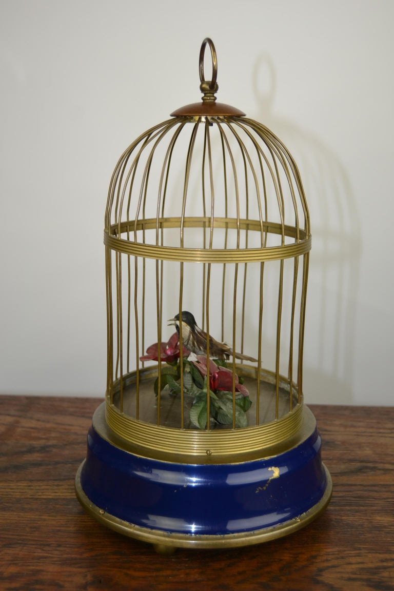 Bird Cage with Singing Bird Automaton, Europe, Mid-20th Century For Sale 11
