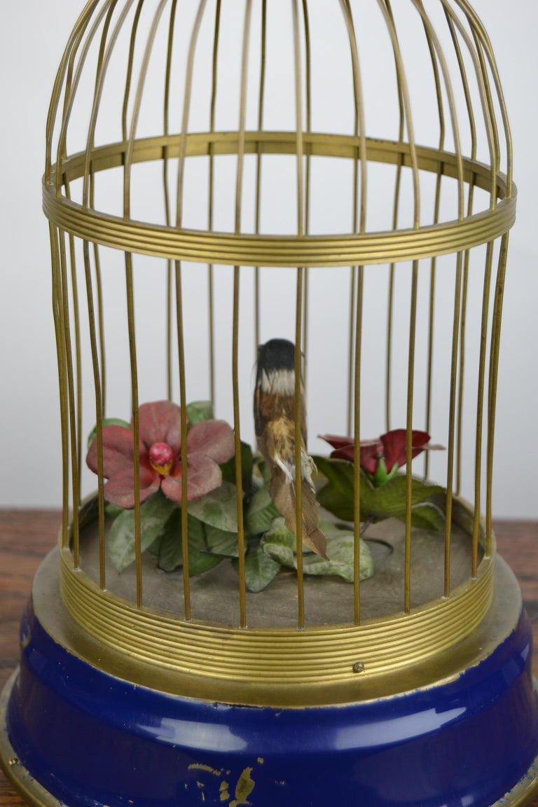 Bird Cage with Singing Bird Automaton, Europe, Mid-20th Century For Sale 12