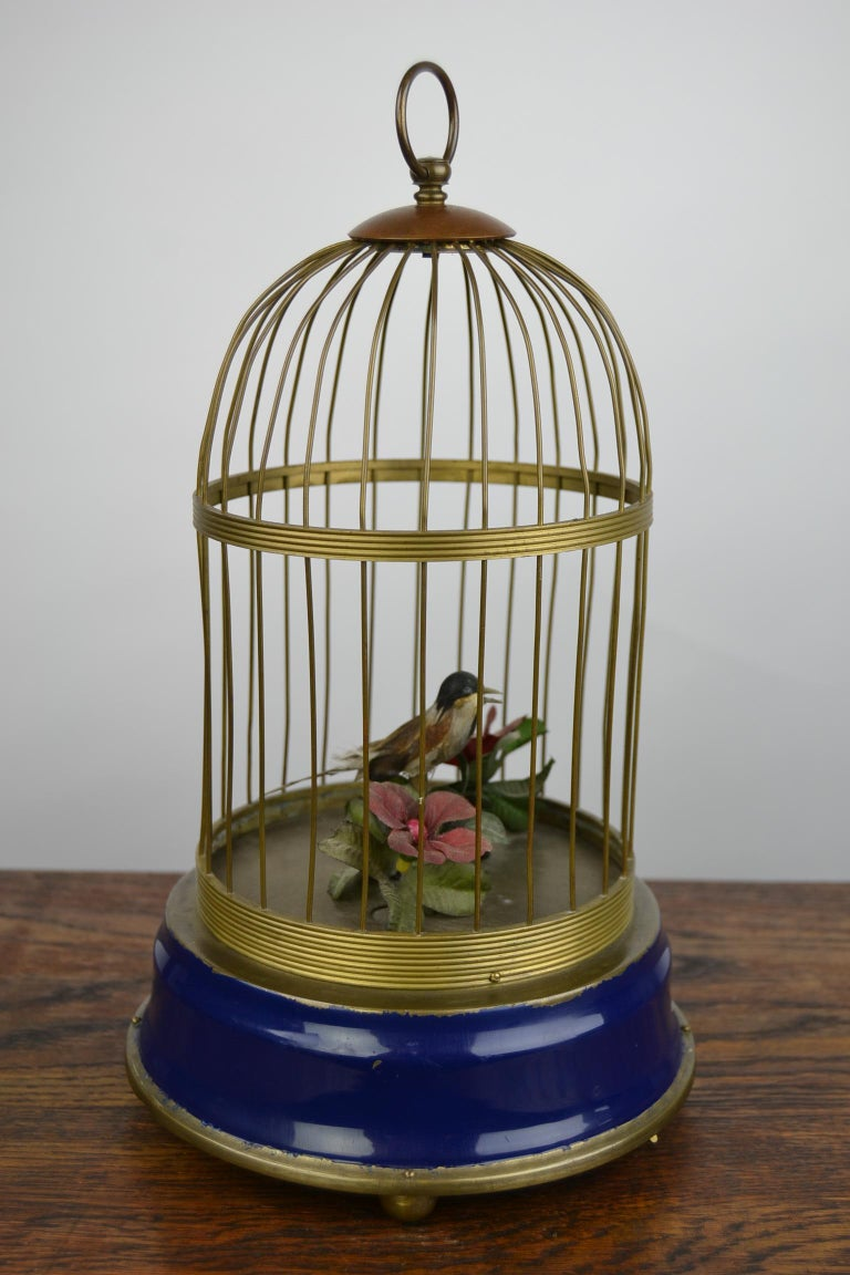 Bird Cage with Singing Bird Automaton, Europe, Mid-20th Century For Sale 13