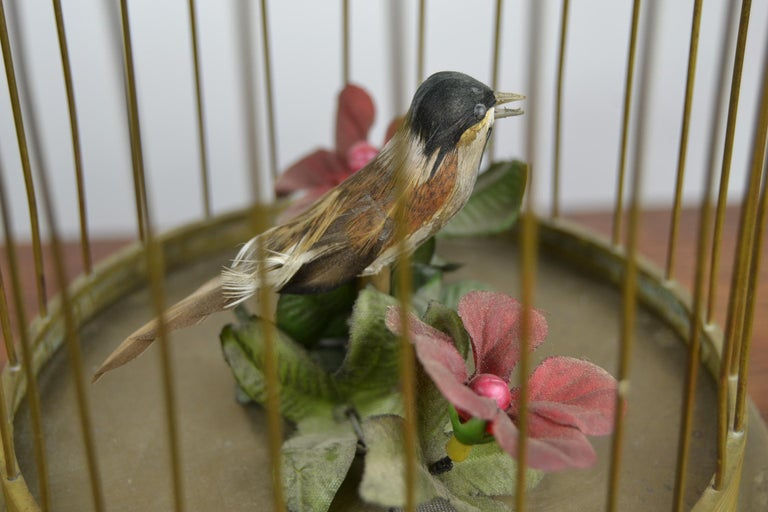 Bird Cage with Singing Bird Automaton, Europe, Mid-20th Century In Good Condition For Sale In Antwerp, BE