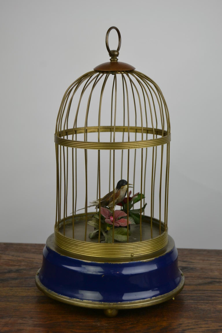 Bird Cage with Singing Bird Automaton, Europe, Mid-20th Century For Sale 1