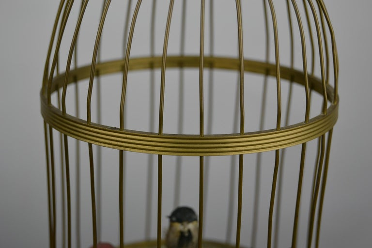 Bird Cage with Singing Bird Automaton, Europe, Mid-20th Century For Sale 3
