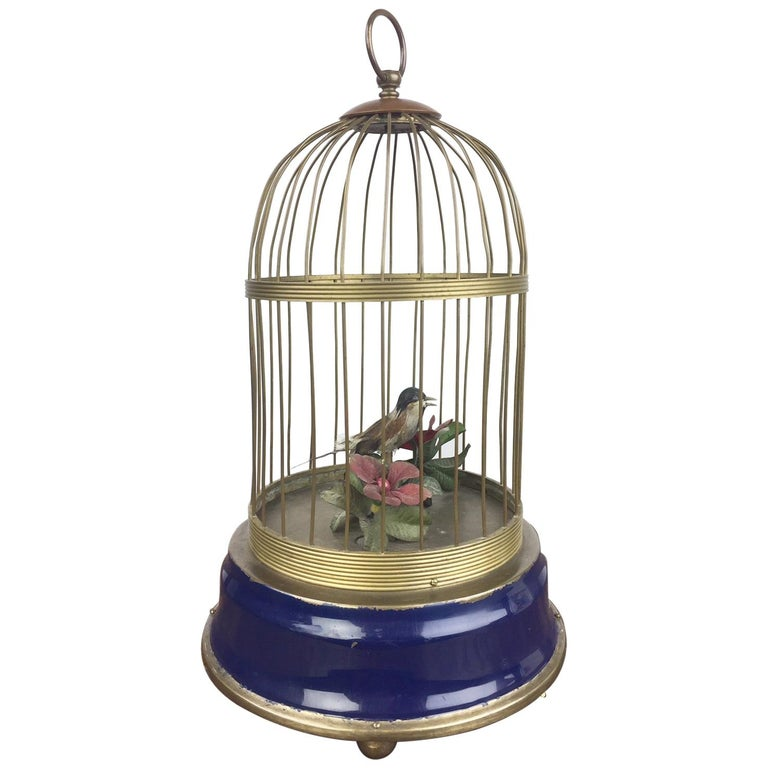Bird Cage with Singing Bird Automaton, Europe, Mid-20th Century For Sale