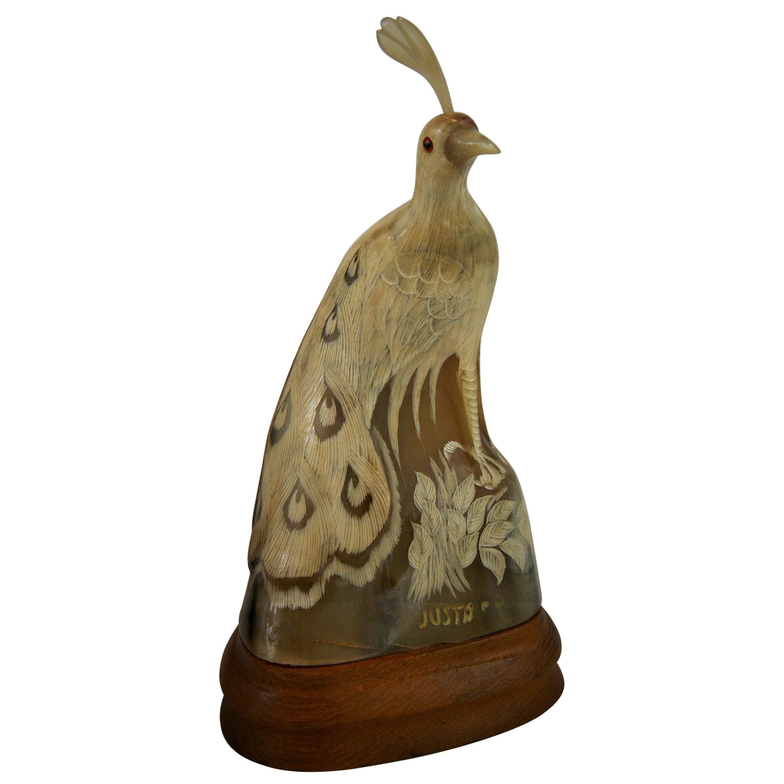 Folk Art Bird Carved Horn Signed Justa