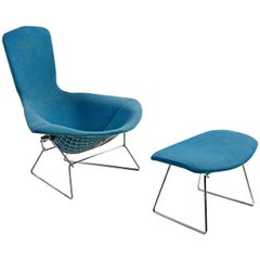 Bird Chair and Ottoman by Harry Bertoia for Knoll, Vintage Original Blue Fabric