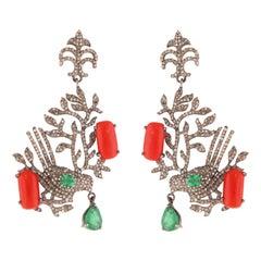 Bird Diamond, Emerald & Coral Drop Earrings