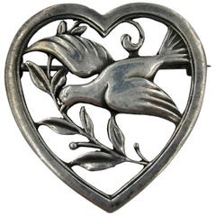 Bird Dove in Heart Brooch Pin Scandinavian Silver Mid-Century Modern