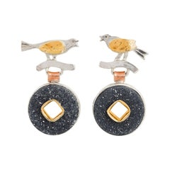 Bird Earrings with Druzy Agate, Silver and 22 Yellow Karat Gold