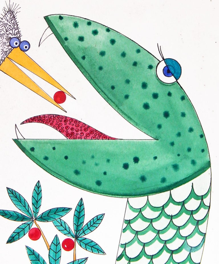 Entirely charming and whimsical, this original painting by Robert Blanchard depicts a fantastical scene: bird and snake as best friends, the tall, fuzzy bird feeding a berry to the green, red-tongued snake, all at high noon under a high sun. This