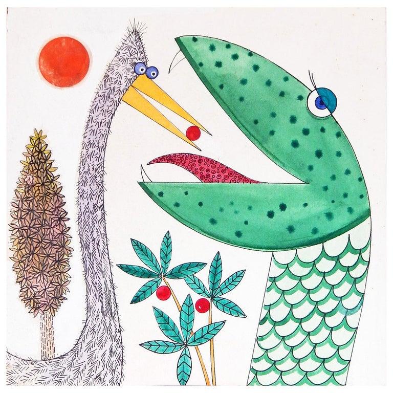 """Bird Feeds Snake,"" Whimsical Children's Book Illustration by Blanchard, 1960s For Sale"
