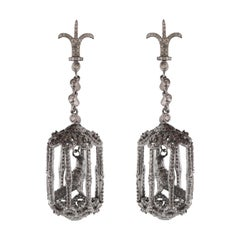 'Bird In A Cage' Diamond Cocktail Earrings