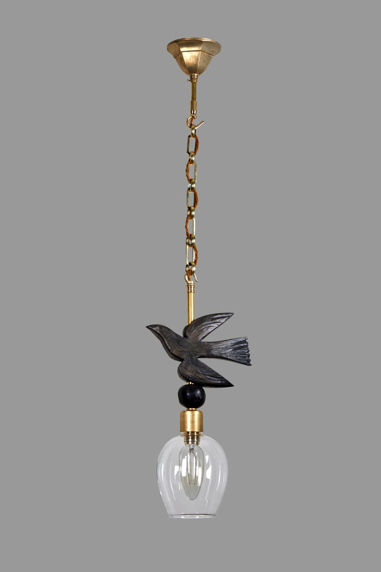English 'Bird in Flight' Sculptural Pendant, Brass and Bronze-Resin by Margit Wittig For Sale