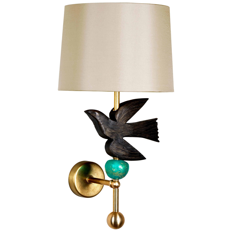 'Bird in Flight' Wall Light with Green Pearl by Margit Wittig