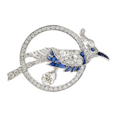Bird Inside Circle with Sapphire and Diamonds Brooch