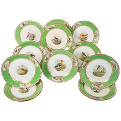 Bird Lover's Set Antique Porcelain Dishes Hand Painted Apple Green Borders