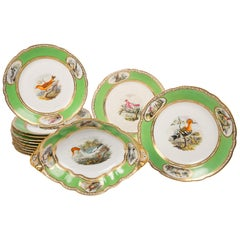 Bird Lover's Set Antique Porcelain Dishes Hand Painted Birds Apple Green Borders