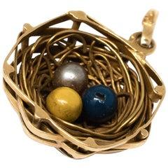 Bird Nest Charm with Eggs in 18 Karat Yellow Gold