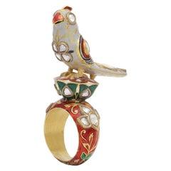 Bird Statement Ring with Diamonds, Enamel Handcrafted in 18 Karat Gold