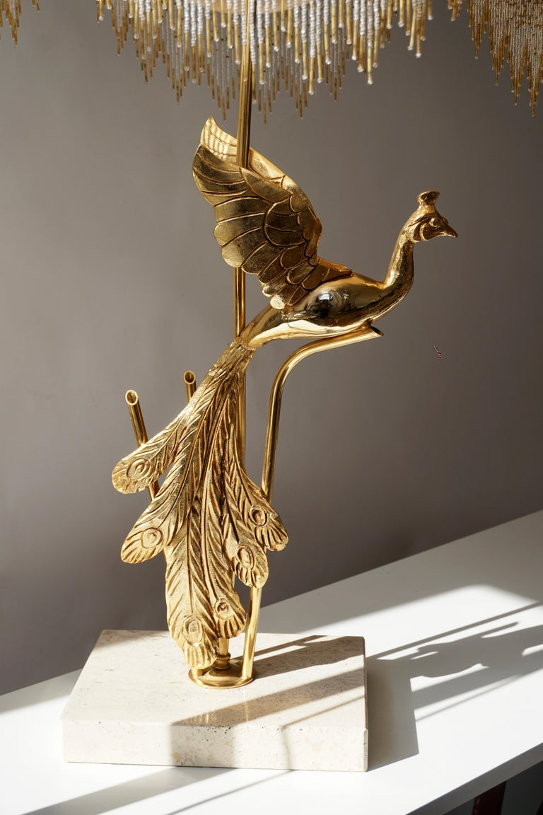 Hollywood Regency Sculptural Gilt Metal on Travertine Peacock Table Lamp or Floor Lamp, 1970s For Sale