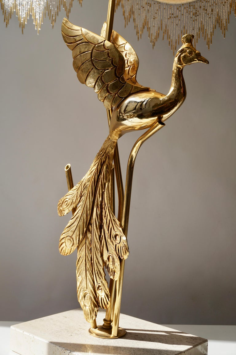 Italian Sculptural Gilt Metal on Travertine Peacock Table Lamp or Floor Lamp, 1970s For Sale