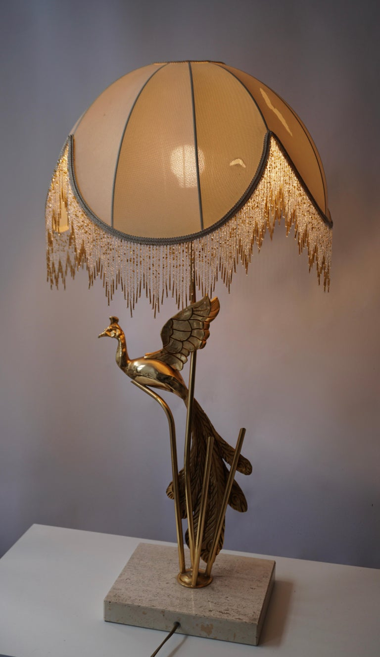 Sculptural Gilt Metal on Travertine Peacock Table Lamp or Floor Lamp, 1970s In Good Condition For Sale In Antwerp, BE