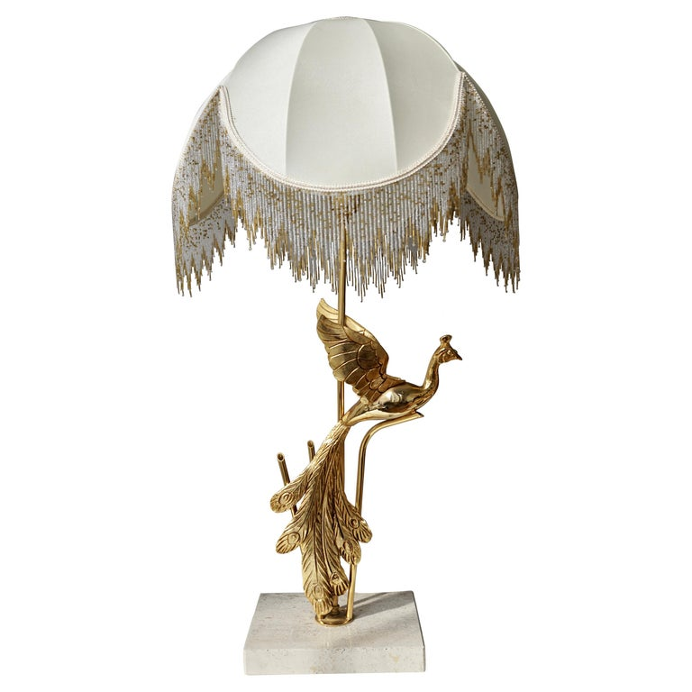 Sculptural Gilt Metal on Travertine Peacock Table Lamp or Floor Lamp, 1970s For Sale