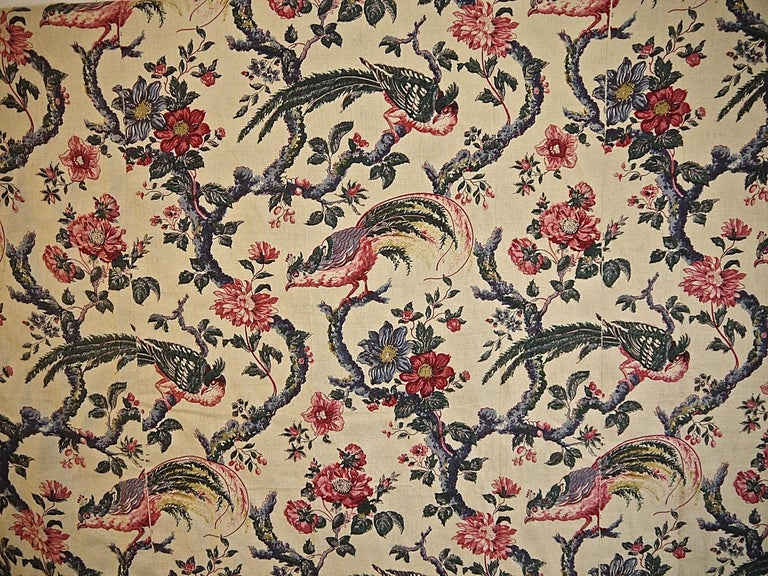 Birds and Flowers Linen Panel and Pair of Linen Curtains, French 19th Century For Sale 9