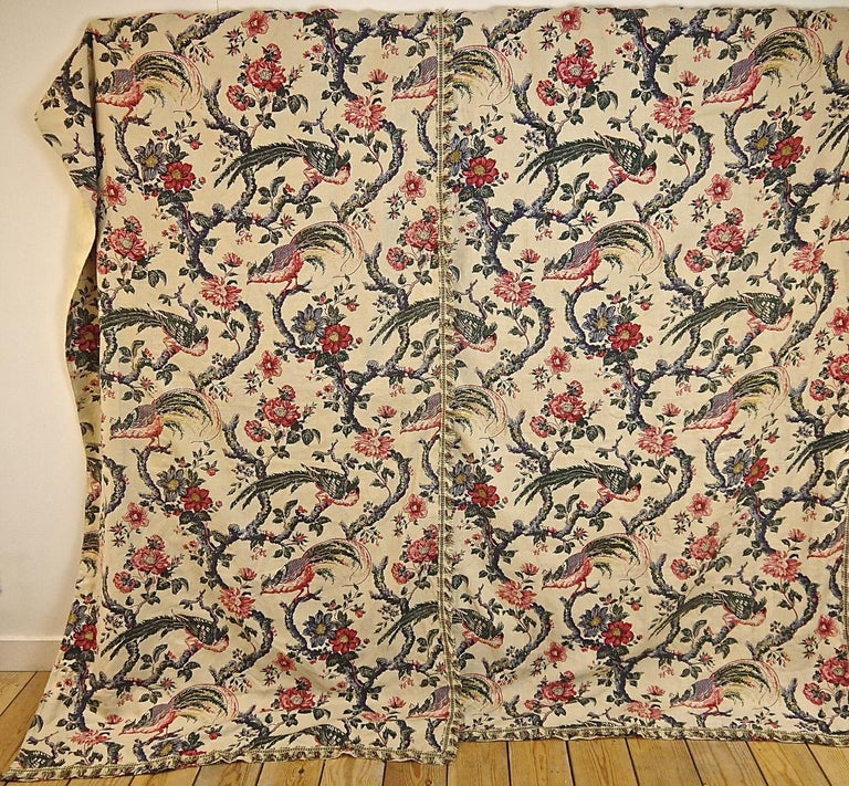 Marvellous set of a French late 19th century large panel and pair of curtains printed on linen with an indienne design of birds and flowers on meandering branches. Trimmed with cotton fringing and lined in cotton. Some slight faded sun marks on the