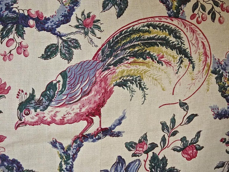 Birds and Flowers Linen Panel and Pair of Linen Curtains, French 19th Century For Sale 1