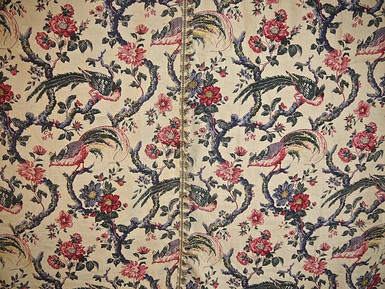 Birds and Flowers Linen Panel and Pair of Linen Curtains, French 19th Century For Sale 2